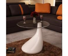 vidaXL Tavolino da Caffè con Ripiano Rotondo in Vetro Bianco Lucido