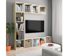 vidaXL Libreria/Mobile TV Set 3pz Bianco e Rovere Sonoma 180x30x180cm