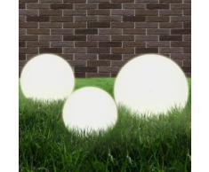 vidaXL Set Lampade a LED Sferiche 3 pz in PMMA 20/30/40cm