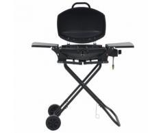 vidaXL Barbecue e Griglia a Gas Portatile con Fornello Nero