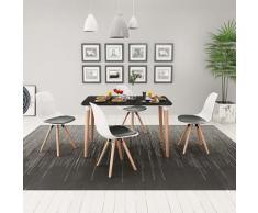 vidaXL 5 Pz Set Tavolo e Sedie Sala da Pranzo Nero e Bianco