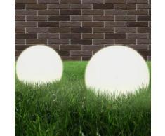 vidaXL Set Lampade a LED Sferiche 2 pz 25 cm in PMMA