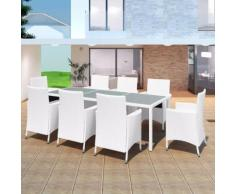 vidaXL Set da Pranzo da Giardino 9 pz in Polyrattan Bianco Crema
