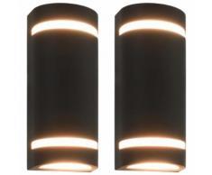 vidaXL Lampade da Parete da Esterno 2 pz 35 W Nere Semicircolari