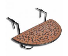 vidaXL Tavolo Sospeso da Balcone in Terracotta Mosaico