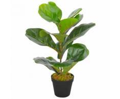 vidaXL Pianta Artificiale di Ficus Lyrata con Vaso Verde 45 cm