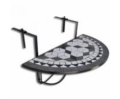 vidaXL Tavolo da Balcone Sospeso Nero e Bianco a Mosaico