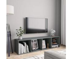 vidaXL Libreria/Mobile TV Grigio 143x30x36 cm