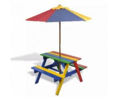 vidaXL Set Tavolo e Panchina da Picnic Bambini con Parasole 4 Colori