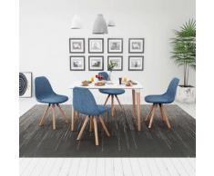 vidaXL 5 Pz Set Tavolo e Sedie Sala da Pranzo Bianco e Blu
