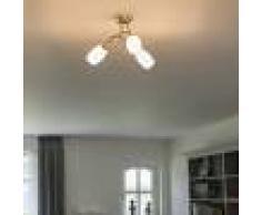 QAZQA Plafoniera classica ottone 3 luci con vetro opalino bianco - FORTRESS