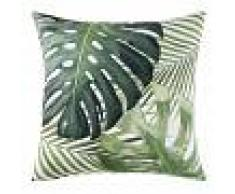 Maisons du Monde Cuscino da esterno bianco con stampa foglie verdi, 45x45 cm