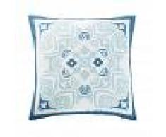 Maisons du Monde Cuscino da esterno bianco con motivi a piastrelle blu, 45x45 cm