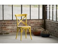 Sedia Pampelune gialla in stile shabby chic