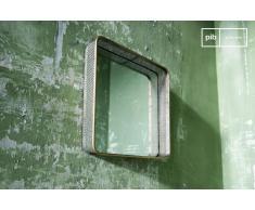 Specchio in metallo Olonne in stile vintage