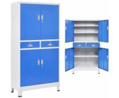 Armadio per Ufficio con 4 Ante Metallo 90x40x180cm Grigio e Blu