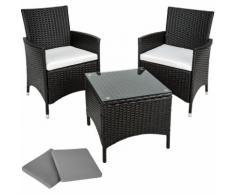 set da giardino in rattan e alluminio Athen, 2 sedie + tavolo - arredo giardino, mobili da