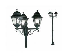 Lampione da giardino CHARME 3 LUCI 3x60W colore Nero 54x137/203H cm Papillon