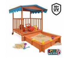 Deuba Sabbiera per Bambini XL in Legno Tetto Protezione UV rotelle scorrevoli sabbionaia Sandbox