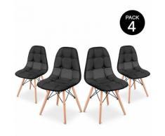 Pack 4 Sedia Sena Button da pranzo colore Nero design imbottito – McHaus