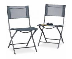 Set 2 sedie pieghevoli da balcone metallo plastica seduta da giardino HxLxP: 87 x 55 x 48 cm,