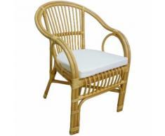 Poltrona sedia Selangor in vimini bambù rattan e giunco naturale con cuscino per casa salotto