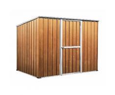 Casetta attrezzi Box garage in Acciaio Zincato 260x185cm x h1.92m - 85kg - 4,55 mq - LEGNO