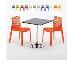 Tavolino Quadrato Nero 70x70cm Con 2 Sedie Colorate Interno Bar GRUVYER MOJITO | Arancione