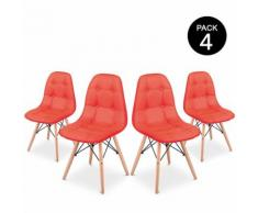 Pack 4 Sedia Sena Button da pranzo colore Rosso design imbottito – McHaus