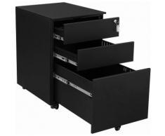 Comodino Acciaio Ufficio Cassettiere Mobile Armadietto Richiudibile per Documenti con 3 Cassetti e