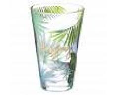 Maisons du Monde Bicchiere da birra in vetro con stampe tropicali ENJOY TROPICAL
