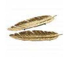 Maisons du Monde 2 svuotatasche piuma in metallo dorato FLORILEGE
