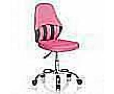 Hjh Sedia per bambini VANDA, schienale ergonomico, base cromata, tessuto rosa/grigio