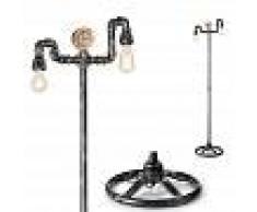 Ideal Lux Piantana id-plumber pt2 e27 led metallo nero antichizzato vintage lampada terra