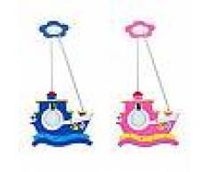 universo Lampadario sospensione barca per cameretta bambini in legno E27 max 60w rosa blu B47