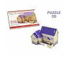 Puzzle 3D casetta in legno Purple House modellino fai da te costruzioni gioco creativo per bambini giocattoli 20 pezzi