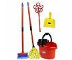 Set pulizie con mocio giocattolo secchio scopa paletta e battipanni gioco per bambine idea regalo 4361