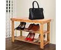 Scarpiera porta scarpe e tacchi scaffale portascarpe panca in legno con due ripiani e piano d'appoggio 70 x 28 x 45 cm 68797