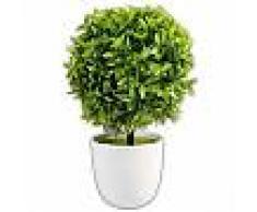 Piantina bonsai artificiale con sfera di bosso pianta finta piantina con vaso