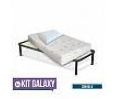 InMaterassi Kit Galaxy - Materasso Memory Multionda Alto 22 Cm + Rete A Doghe + Cuscini Memory Kit - 80x190 Cm Singolo + Rete + 1 Cuscino