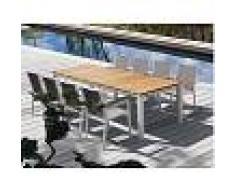 Tartaruga Pircher tavolo giardino Cube 200 in Alluminio verniciato bianco e legno di Teak