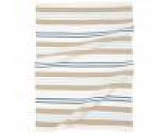 Maisons du Monde Strofinaccio in cotone beige con motivi a righe blu, 50x70 cm