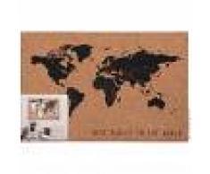 Maisons du Monde Bacheca foto planisfero in sughero marrone e nero, 60x40 cm