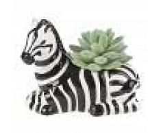 Maisons du Monde Pianta grassa artificiale e portavaso zebra in ceramica, 11 cm