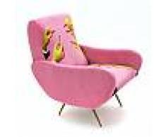 SELETTI poltrona imbottita TOILETPAPER ARMCHAIR (Pink Lipsticks - Tessuto in poliestere, struttura in legno, poliuretano e metallo)