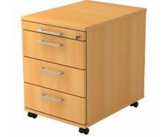 office akktiv Cassettiera con rotelle, 1 cassetto portacancelleria, 3 cassetti portamateriale, profondità 580 mm