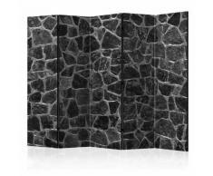Paravento 5 Pannelli - Black Stones Ii 225x172cm Erroi...