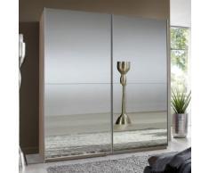 Armadio Primula in essenza rovere fresato e ante a specchio