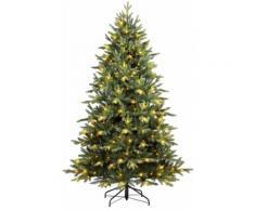 Albero Di Natale Artificiale 180 Cm 968 Rami 200 Led Bianco Caldo Valenti Nakuruled Verde