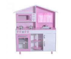 Cucina Giocattolo Per Bambini Con Accessori In Legno Rosa 110x32.5x99.5 Cm Benzoni